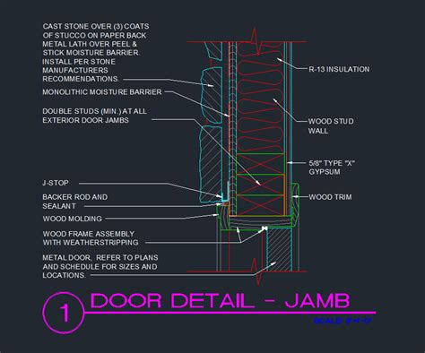door jamb exterior wood stud with cast exterior cad files dwg files plans and details