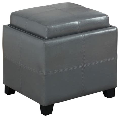 Leather Storage Ottoman With Tray Faux Leather Storage Ottoman With Reversible Tray Gray Transitional Accent And Storage