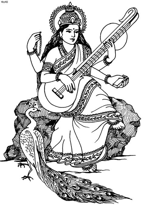 maa saraswati sketch clipart best