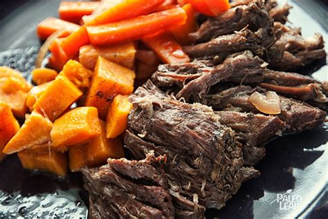 balsamic roast beef in oven slow cooker pot roast sweet potatoes