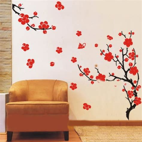 Cherry Blossom Tree Wall Sticker plum blossom flowers tree branch wall decals wall