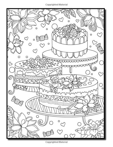 cake with a delicious strawberry coloring book pages 78 best cupcakes cakes coloring pages for adults images