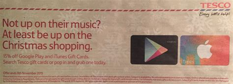 Itunes Gift Card Offers Tesco - tesco 15 off itunes and google play gift cards plus bonus clubard points ukpoints com