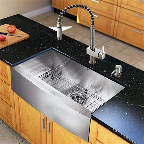 Kitchen Sinks Houzz Vg15128 All In One 33 Inch Farmhouse Kitchen Sink And Faucet Set Modern Kitchen Sinks