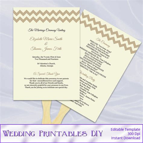 items similar to rustic wedding program fans template diy