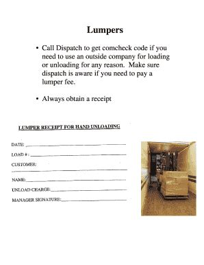 free lumper receipt template lumper receipt fill printable fillable blank