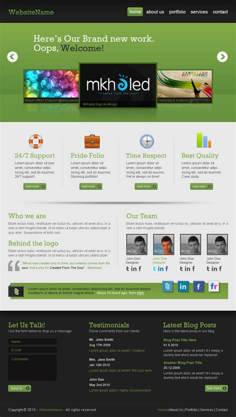 layout home page create a professional web 2 0 layout