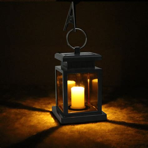 solar lantern lights outdoor garden solar powered led candle table lantern hanging