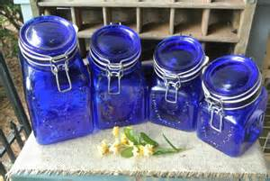 reserved for sarah vintage cobalt blue by semiurbancollector faceted blue kitchen canisters set of 4