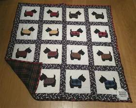 small town scottie quilt celebrating new