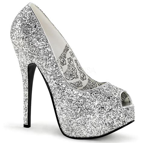 silver glitter high heel pumps bordello tee22g s silver glitter platform peep