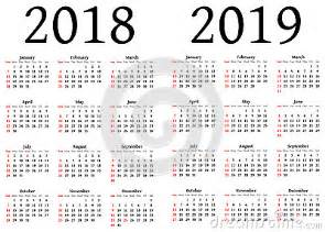Calendã De 2018 Os Feriados Calend 225 Para 2018 E 2019 Ilustra 231 227 O Stock Imagem