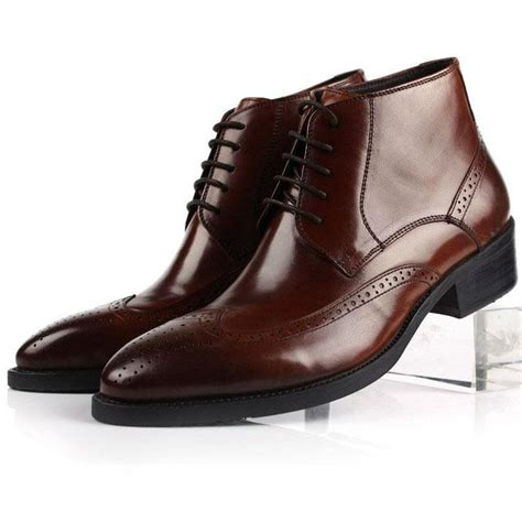 brown mens dress boots s leather lace up wingtip formal dress chukkas shoes