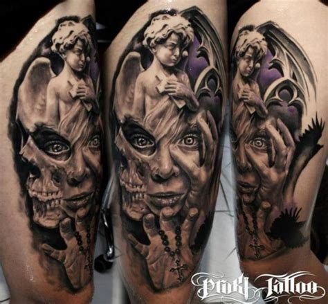 tattoo angel skull shoulder fantasy tattoo by proki tattoo