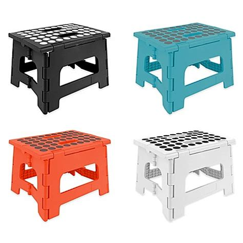 small collapsible foot stool kikkerland 174 easy folding step stool bed bath beyond
