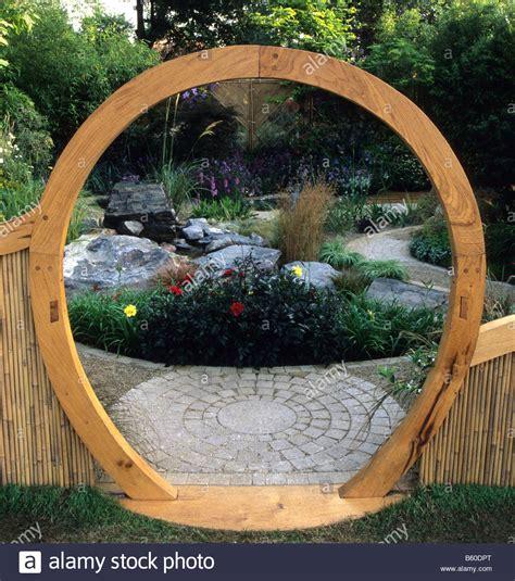 Feng Shui Garden Decor Feng Shui Garden Design Woods Circular Moon Gate And Stock Photo Royalty Free
