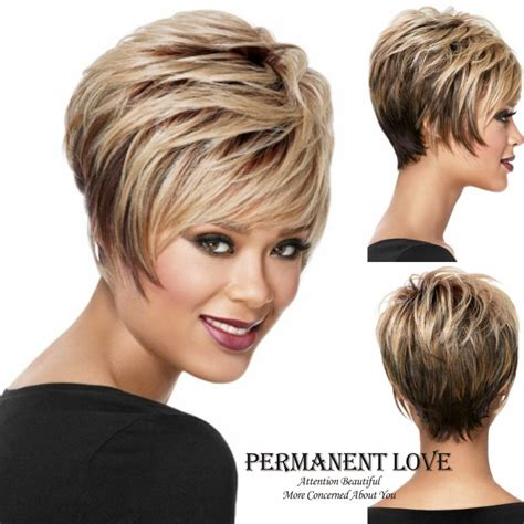 photo very short a frame bob short pixie wigs blonde synthtetic peruk playful straight