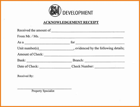 Acknowledgement Letter Of Receipt 10 Acknowledgement Receipts Sles Cashier Resumes