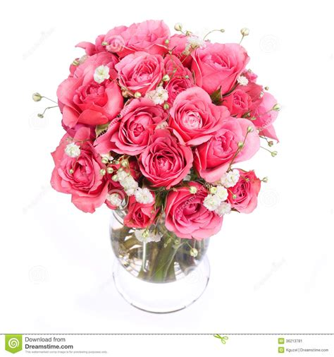 Huge Glass Vase Bouquet Of Pink Roses In Vase Isolated On White Background