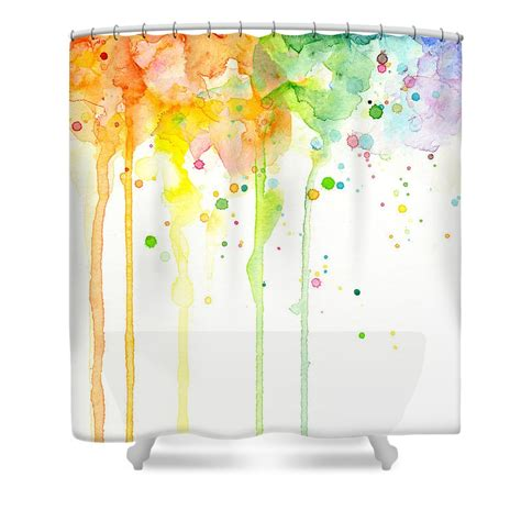 Watercolor Rainbow Shower Curtain By Olga Shvartsur