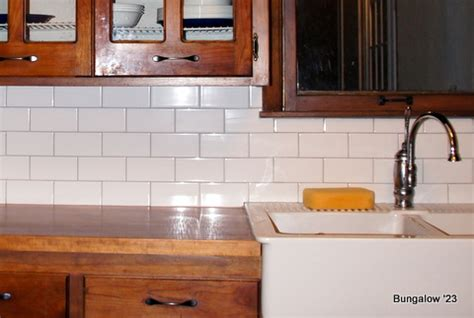 subway tile backsplash installed