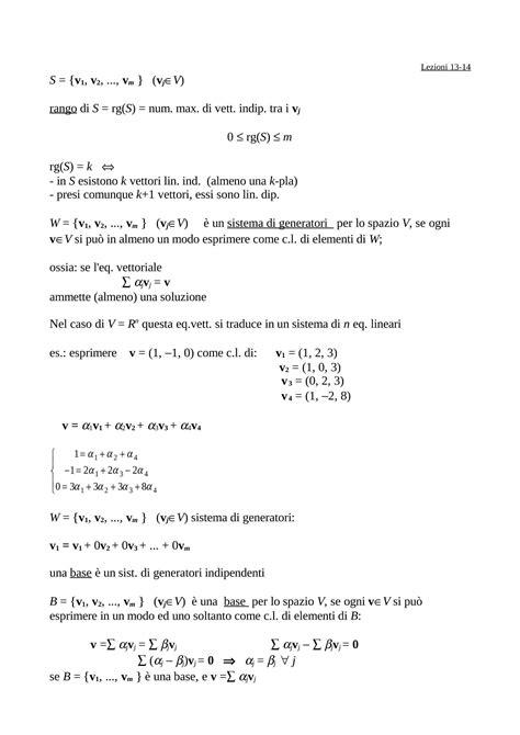 dispense matematica generale spazio vettoriale dispense