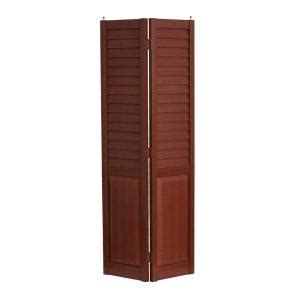 Interior Wood Doors Home Depot Home Fashion Technologies 28 In X 80 In 3 In Louver Panel Cherry Composite Interior Bi Fold