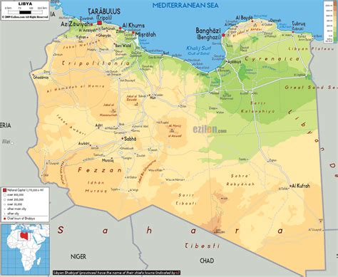 libya map large detailed physical map of libya with all cities