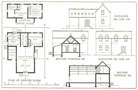 house plan section and elevation dairy factory plan elevation section milk receiving depot