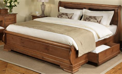 wood bed frames with headboard brown varnished pine wood king bed frame with sleigh