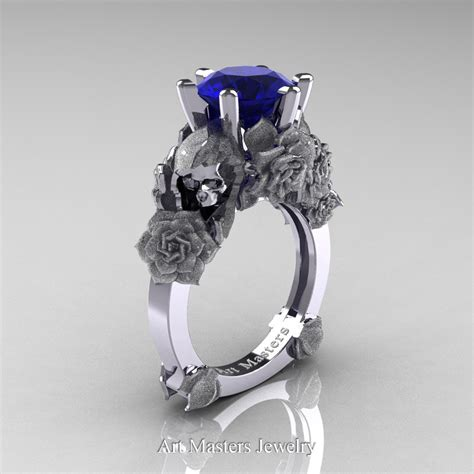 Blue Sapphire 12 3 Ct and sorrow 14k white gold 3 0 ct blue sapphire skull