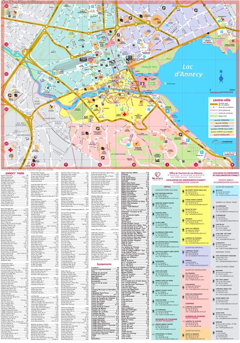 annecy hotels  sightseeings map