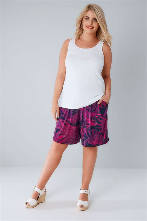 Pink Navy Sportcasual Size S 1 navy pink tropical palm print jersey shorts plus size