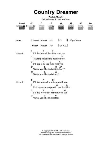 song paul mccartney lyrics paul mccartney country dreamer sheet