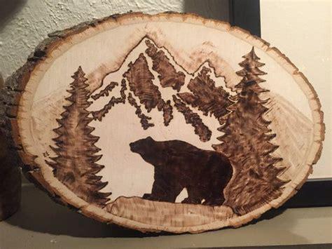 bear   mountains wood burn  emilyeggers  etsy