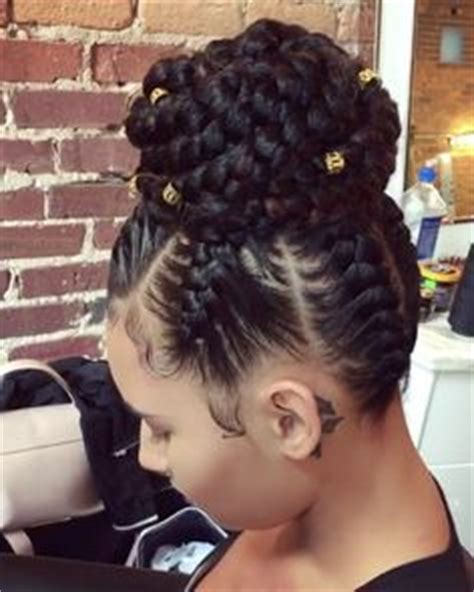 scalp braids in a high bun feed in braids updo yessss hair pinterest