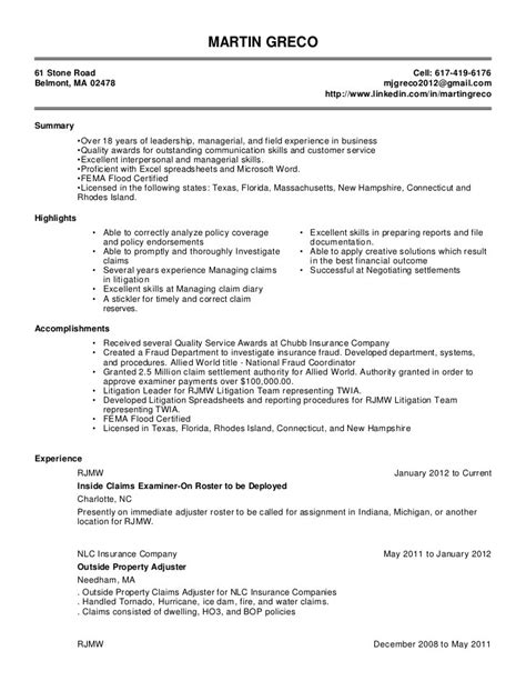 Claims Examiner Sle Resume by Claims Adjuster Resume Resume Ideas