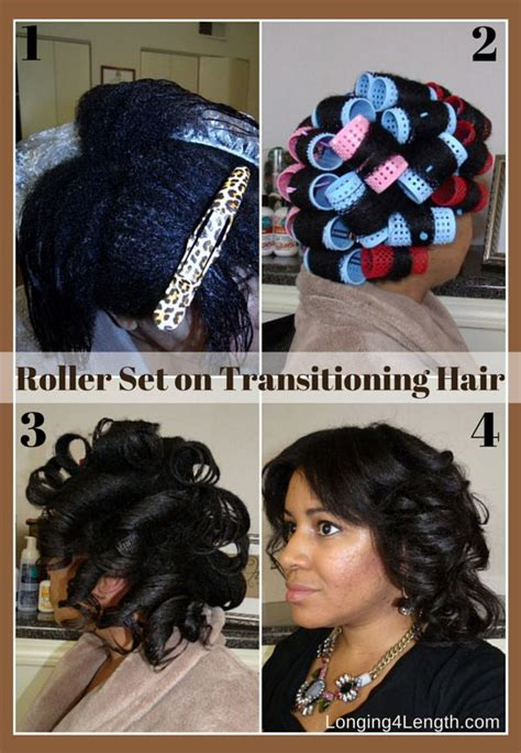 wet set relaxed hair roller set on transitioning hair good hair in a bottle