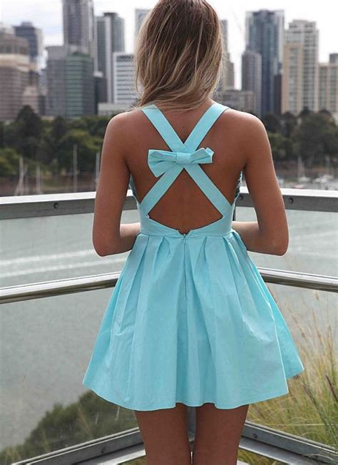 Lowback Ribbon Dress light blue cross bow back dress bows and strings