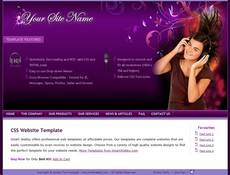 personal web pages templates purple template