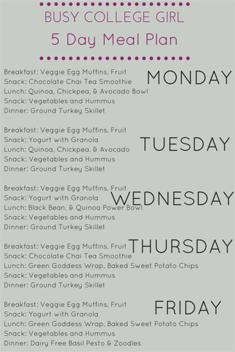 Easy Detox Diets For College Students by 25 Best Ideas About College Meal Planning On
