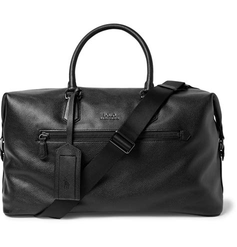 Polo Ralph Holdall polo ralph pebble grain leather holdall in black