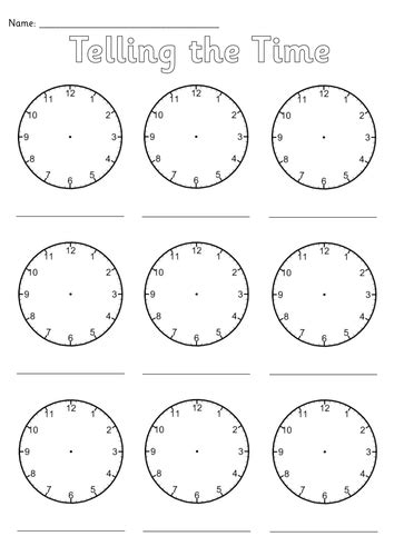 printable a4 clock face blank clocks worksheet by simon h teaching resources tes