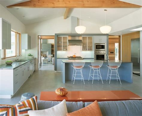 inspiring mid century kitchen concept with orange and blue