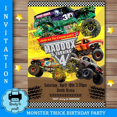 printable monster jam birthday cards monster jam birthday invitations monster jam 3d