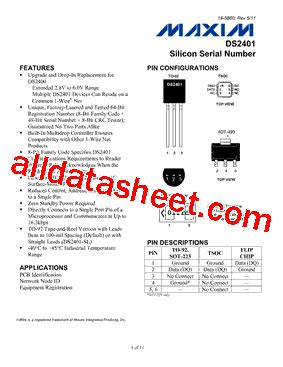 maxim integrated products number of employees ds2401 datasheet pdf maxim integrated products