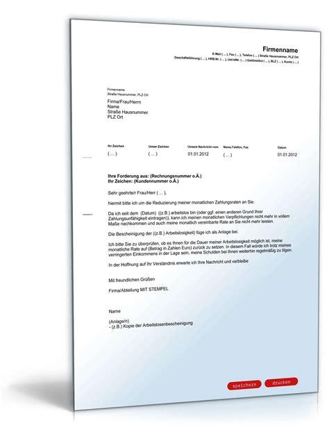 Musterbrief Antrag Ratenzahlung Antrag Auf Reduzierung Der Zahlungsraten Musterbrief Zum