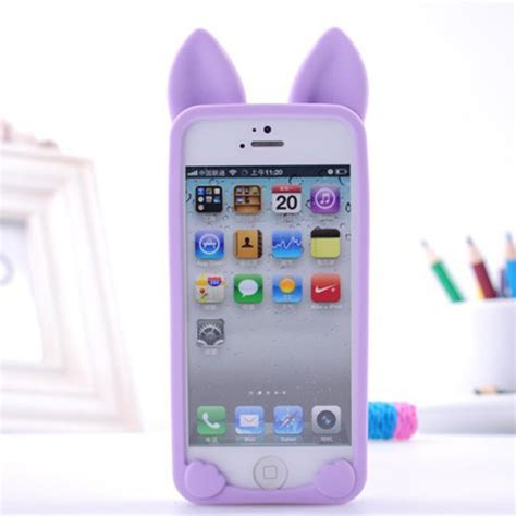 2015 fashion 3d koko cat ear phone cases for apple iphone 5 5s luxury pink soft silicone
