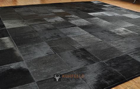 teppich 160 x 200 cowhide rug black 200 x 200 cm kuhfelleonline nomad
