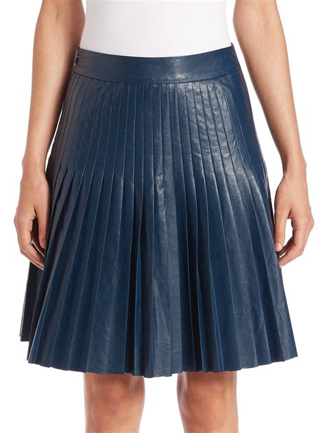 faux leather pleated skirt in blue lyst